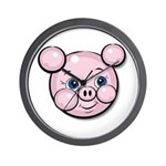 Pink Pig Cute Face Cartoon Wall Clock