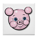 Pink Pig Cute Face Cartoon Tile Coaster
