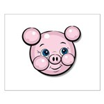 Pink Pig Cute Face Cartoon Small Poster