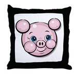 Pink Pig Cute Face Cartoon Throw Pillow