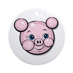 Pink Pig Cute Face Cartoon Ornament (Round)