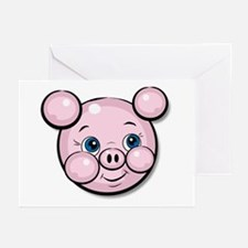 Pink Pig Cute Face Cartoon Greeting Cards (Package