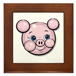 Pink Pig Cute Face Cartoon Framed Tile