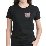 Pink Pig Cute Face Cartoon Women's Dark T-Shirt