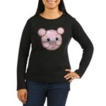 Pink Pig Cute Face Cartoon Women's Long Sleeve Dar