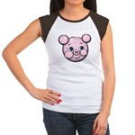 Pink Pig Cute Face Cartoon Women's Cap Sleeve T-Sh