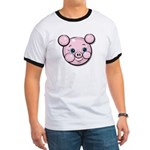 Pink Pig Cute Face Cartoon Ringer T