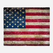 Faded American Flag Throw Blanket