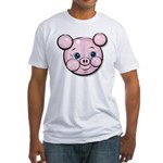 Pink Pig Cute Face Cartoon Fitted T-Shirt