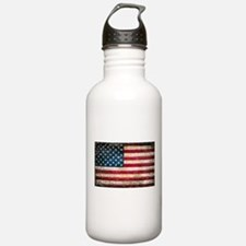 Faded American Flag Water Bottle