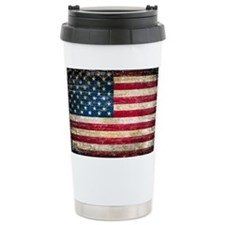 Faded American Flag Travel Mug