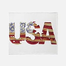 Worn USA Throw Blanket