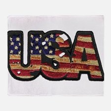 USA Patch Throw Blanket
