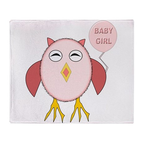 Cute Baby Girl Owl Throw Blanket