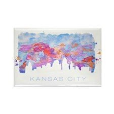 Kansas City Skyline Watercolor Rectangle Magnet
