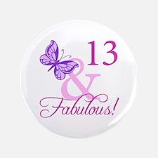 "Fabulous 13th Birthday 3.5"" Button"