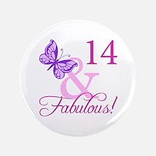 "Fabulous 14th Birthday 3.5"" Button"