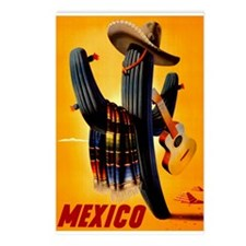 Vintage Mexico Guitar Travel Postcards (Package of