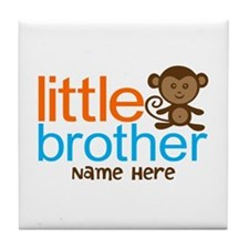Personalized Monkey Little Brother Tile Coaster