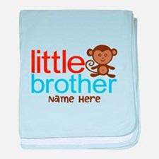 Personalized Monkey Little Brother baby blanket