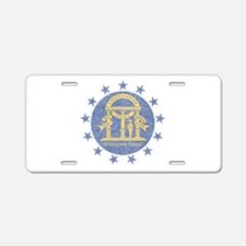 Vintage Georgia State Flag Aluminum License Plate