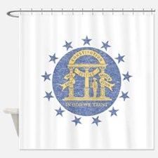 Vintage Georgia State Flag Shower Curtain