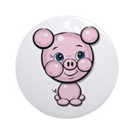 Cutie Cartoon Pig Piglet Cute Art Ornament (Round)