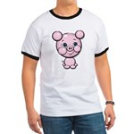 Cutie Cartoon Pig Piglet Cute Art Ringer T