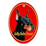 Jolly Dobe Xmas Oval Ornament