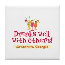 Drinks Well-Savannah, GA- Tile Coaster