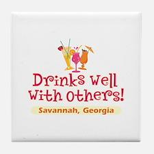 Drinks Well-Savannah, GA- Tile Coaster