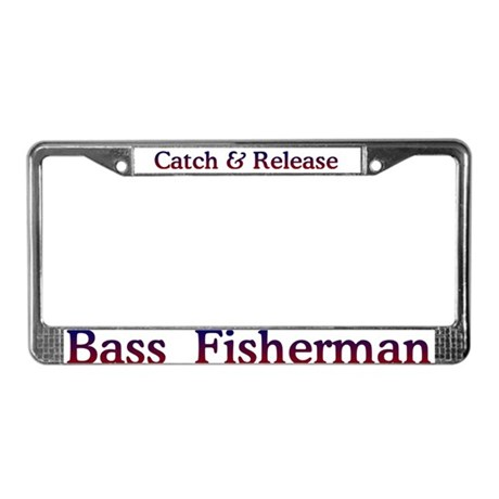Bass fishing license plate frame by bassfish for Fishing license plate