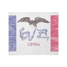 Iowa Vintage State Flag Throw Blanket