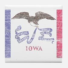 Iowa Vintage State Flag Tile Coaster