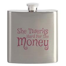 She Twerks Hard For The Money Flask
