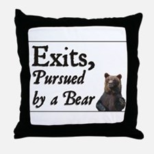 Exits, Pursued by a Bear Throw Pillow