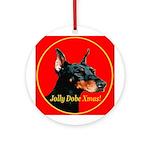Jolly Dobe Xmas Ornament (Round)