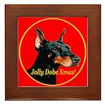 Jolly Dobe Xmas Framed Tile