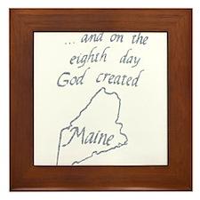 God Created Maine Framed Tile
