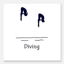 "Diving Square Car Magnet 3"" x 3"""