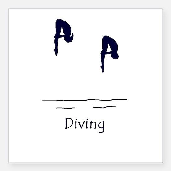 "Diving Square Car Magnet 3"" x 3"""