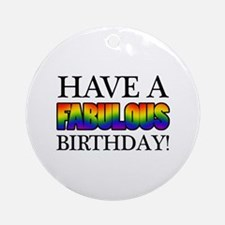 Fabulous Gay Pride Birthday Ornament (Round)