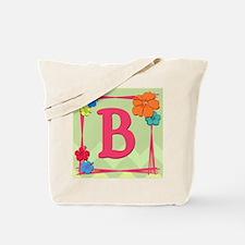 Tropical Art Monogram Tote Letter B Tote Bag
