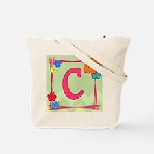 Tropical Art Monogram Tote Letter C Tote Bag