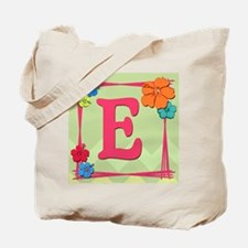Tropical Art Monogram Tote Letter E Tote Bag