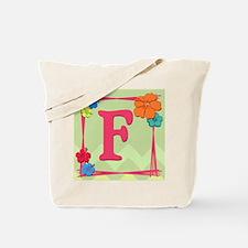 Tropical Art Monogram Tote Letter F Tote Bag