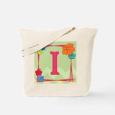 Tropical Art Monogram Tote Letter I Tote Bag