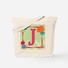 Tropical Art Monogram Tote Letter J Tote Bag