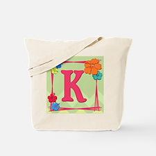 Tropical Art Monogram Tote Letter K Tote Bag