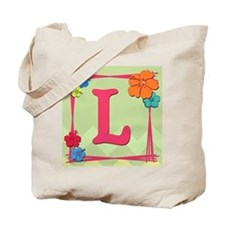 Tropical Art Monogram Tote Letter L Tote Bag